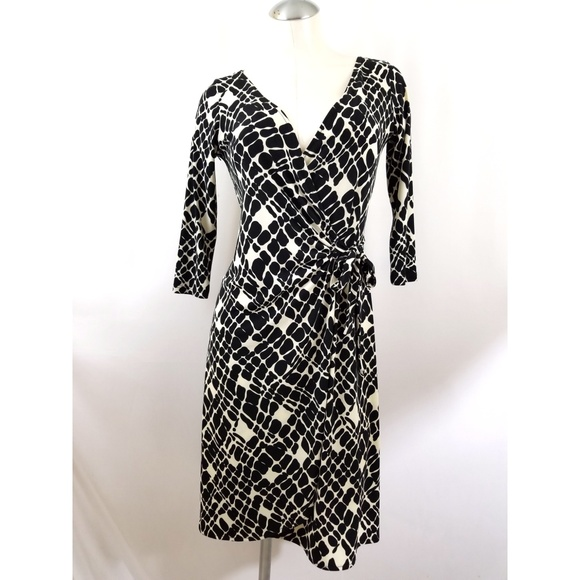 30742837aa4be Dress Barn Dresses | Dressbarn Size 4 Cream Black Wrap Dress | Poshmark